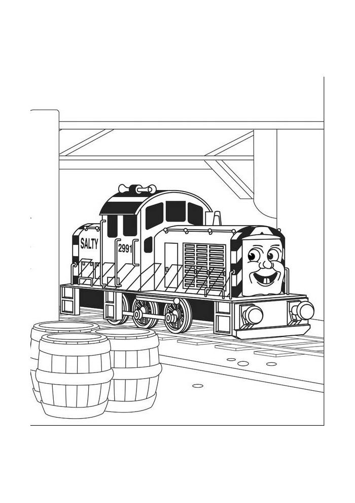 Thomas de stoomlocomotief - een wagen vol met zout